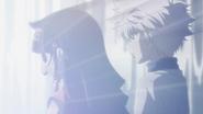 Killua watches Alluka healing Gon