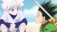 Gon & Killua discover a trap door (Trick Tower)