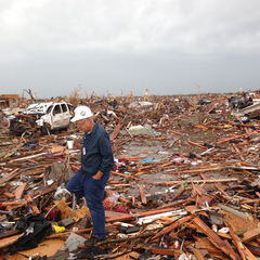 Tim Marshal observes EF5 damage following the 2013 Moore, OK tornado