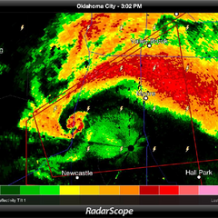 The devastating 2013 Moore, OK tornado on radar. Note the distinctive hook feature and debris ball on the image, which clearly shows a powerful storm