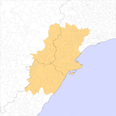 Extensió municipal de les comarques centrals dels Països Catalans