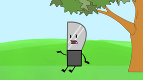 Knife by a tree