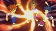 Tenma and Tsurugi trying to stop Fire Tornado EP39 HQ