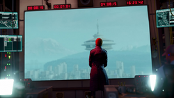 Augustine watches commotion at the Space Needle during The Gauntlet mission