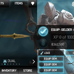Gelder in the player´s inventory.