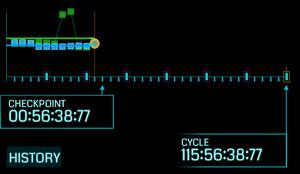 Resistance (青) と Enlightened (緑) の両陣営のマインド・ユニットの増減の変化がわかるタイムライン