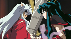 Kaguya spars with Inuyasha
