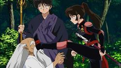 Sango kicks Master of Potion's face