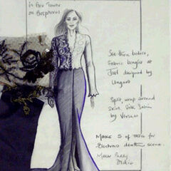 Concept sketch & sample swatches for Elektra's final dress. Artwork by Costume Designer, Lindy Hemming.