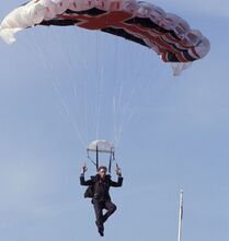 Gustav Graves parachuting (Die Another Day)
