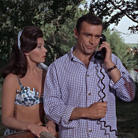 Sylvia Trench (Eunice Gayson) wooing James Bond in <i>From Russia with Love</i>.
