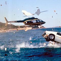 The Lotus Esprit plunges into the ocean.