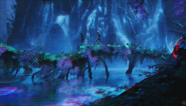 File:Bioluminescent lake (red-cyan).jpg