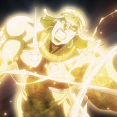 Wamuu's arms damaged by Joseph's Ripple, sabotaging his Holy Sandstorm