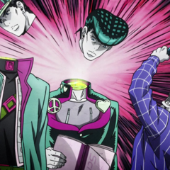 Yoshihiro decapitates Jotaro and Josuke's images within the photo.