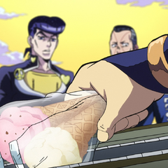 Mikitaka pulls two cold ice-creams out of his bag.