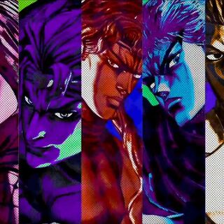 Pucci along with other main antagonists in <i>All-Star Battle</i>