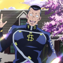Happily greeting Josuke on his way to school.