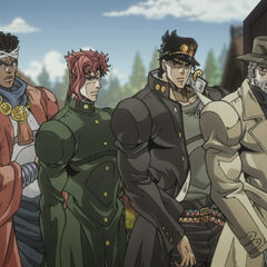 The Crusaders against DIO (sans Polnareff & Iggy)