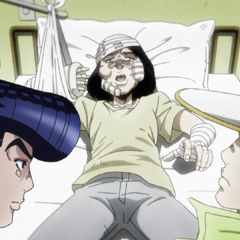 Being interrogated in the hospital by Josuke and Jotaro.