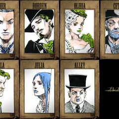 The cast of the movie <i>The Prestige</i> drawn by Araki