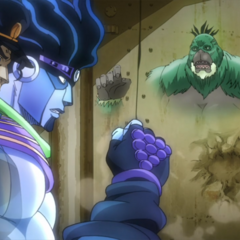 Fusing with the wall, avoiding Star Platinum's attacks