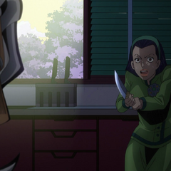 Tomoko threating Terunosuke with a kitchen knife.