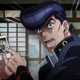 Josuke worried by Yoshihiro's appearance in the Atom Heart Father photo.
