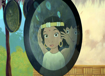 Mowgli has got Shanti a feather hat