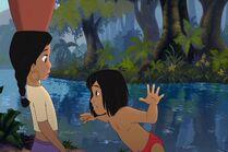 Mowgli is warning Shanti about the danger
