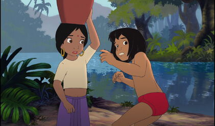 Mowgli and Shanti are scared and worried