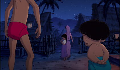 Mowgli and Ranjan are both watching Shanti leave with her mother