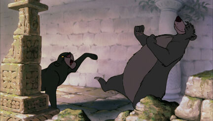 Bagheera the Black Panther really wants Baloo the bear to stop danceing