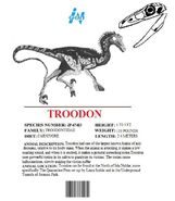 Ingen Dinosaur Info Sheets Troodon