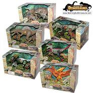 Lontic extinct world articulated t-rex triceratops spinosaurus velociraptor dilophosaurus pteranadon dinosaur toy action figures play sets - 6 box bundle - noth