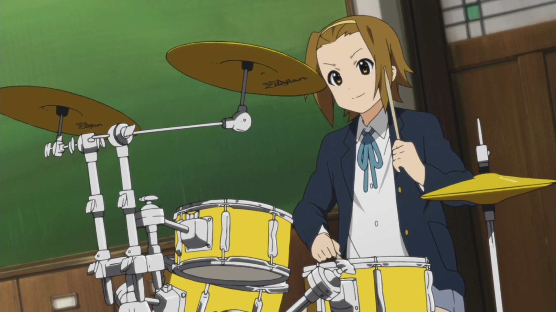 FileRitsu playing drums jpg  K On Ritsu Drums