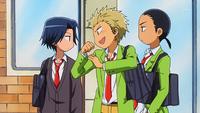 Shirokawa showing off his arms