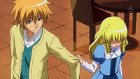 Aoi holding Takumi's arm