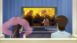 Keima and Elsie are watching the anime