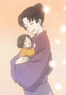 Hiiragi as an adult with her child (Kako-hen OVA)