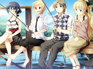 Hisao fishing with the girls