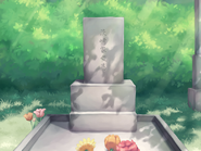 Emi's fathers gravestone