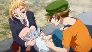 Miu and Kisara Caressing a Cat