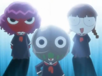 Keroro, Giroro and Tamama (Schoolgirl Style) in Episode 144