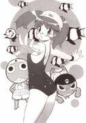 Natsumi in her swimsuit with Giroro and Keroro