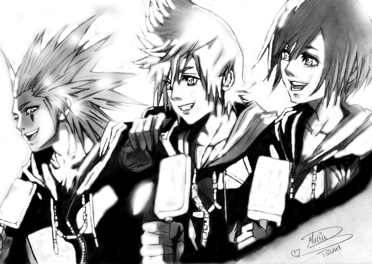 Xion And Roxas And Axel kh Axel Roxas Xion by