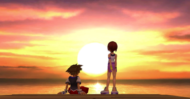 File:Sora and Kairi at sunset.PNG