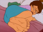 Peggy straightens her Feet