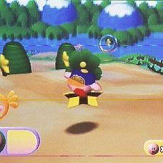 Kirby corriendo por el lugar.