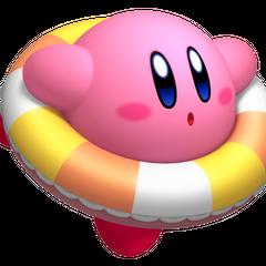 Kirby nadando con flotador.